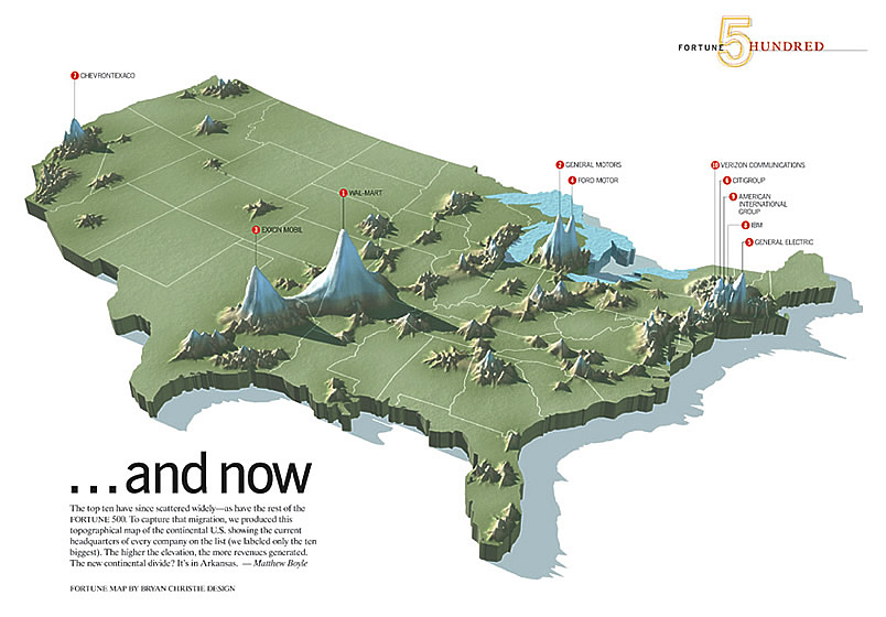 Linda Eckstein Information Graphics - Topagraphical map of us
